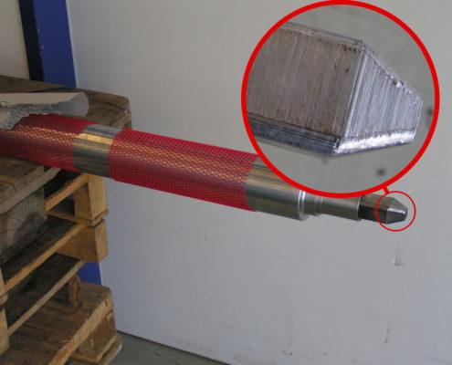 Wellenansatz Material aufgetragen